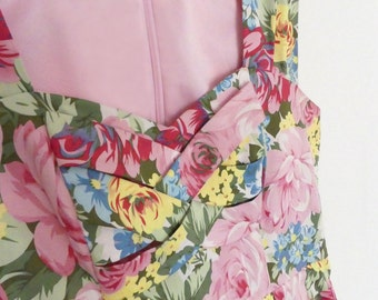 Floral dress 1950's style, bright colourful, probably made in 1990's, fashion, retro, day dress.