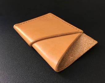 Handmade slim leather front pocket wallet