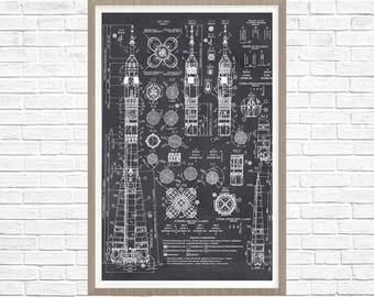 Rocket Patent Print, Space Decor, Rocket Schematics, Soviet Rocket Print, rocket wall art, rocket wall decor, rocket print, rocket art