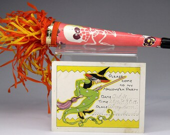 Vintage Halloween Horn and Party Invitation