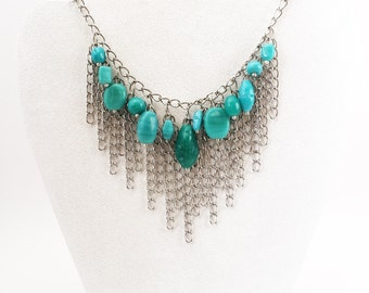 Turquoise Glass Bead and Chain Fringe Bib Necklace, Fringe Bib Necklace, Blue Fringe Necklace