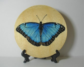 Blue Morpho Butterfly On A Wooden Disk - 10cm - Original Painting - Acrylic Painting - Decorative Ornament  With Stand