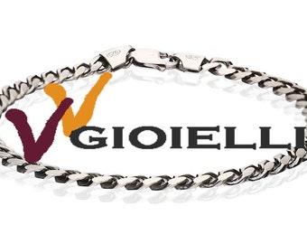 925 silver bracelet oval gunmetal bracelet unisex gurmetta type measure 21