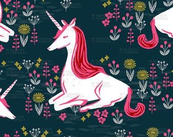 Sitting Unicorn Fabric by andrea_lauren
