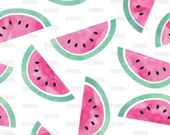 Watermelons - Watercolor Fabric by littlearrowdesigncompany