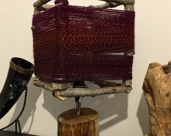 SOLD - BoHo / Rustic yarn-wrapped wooden table lamp