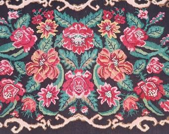 6.5x10.5 More unique Floral Design Rug,Vintage Karabakh Kilim,Floral border,Multi-Color rug,Salon Rug,office rug,Vintage floral kilim
