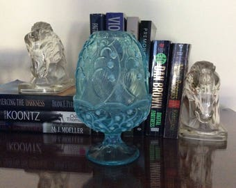 BEAUTIFUL Vintage FENTON Blue Cameo Lily of The Valley Fairy Lamp