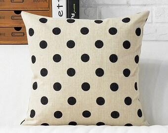 Beige Black Polka Dot  Pillow Cushion Throw Pillow Cover Pillow Beige Couch Bed Pillows Cushion Cover Decorative Throw Pillow