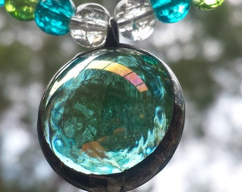 Soldered Stained Glass Beachy Sea Green Beaded Necklace by Indigo Mood