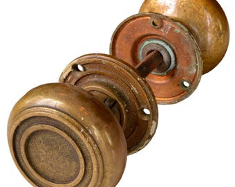 antique 5-piece brass door knob set