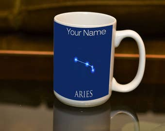 ARIES Sign of the Zodiac Astrology Large 15 oz Sublimation Mug. Horoscope Birthday Gift Personalise Witha Name and Create a Special  Gift