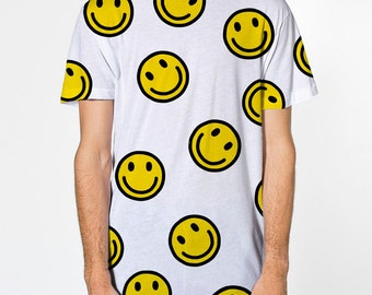 All Over Print Acid House pattern T-shirt, sublimation printed front and back smiley face Emoji