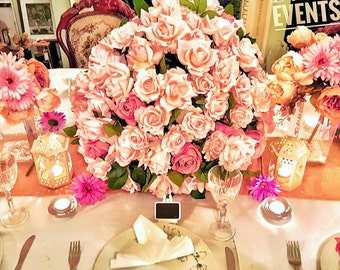 Pink Rose Bush Large Wedding Centrepiece for Head Table -LONDON HIRE ONLY
