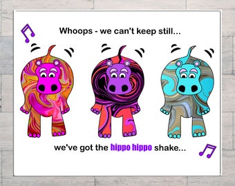 Hippo Hippo Shake, Whimsical Art, Psychedelic, Hippy, Comical Art,  Sixties Hits, Swinging Sixties, Printable, Instant Download, Digital