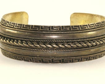 Vintage Maze Antique Style Cuff Bracelet 925 Sterling Silver BR 55 -E