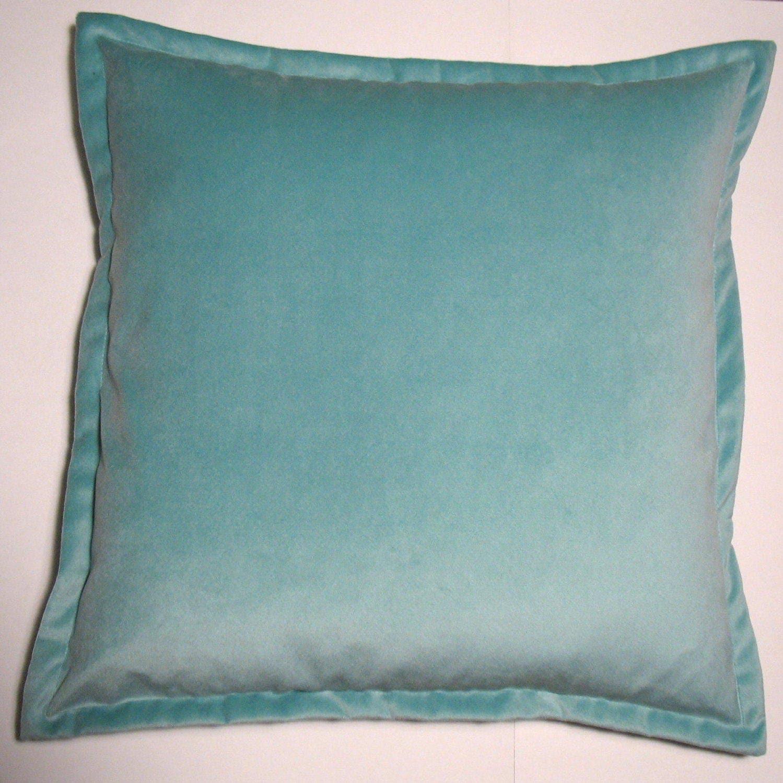 SET of TWO Aqua Plush Velvet Throw Pillow Covers 22x