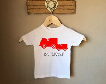 Big Brother Tee with Fire Trucks