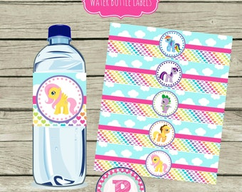 My Little Pony Birthday Party Drink Wraps Water Bottle Labels Aqua Pink Rainbows Clouds Magical Instant Download