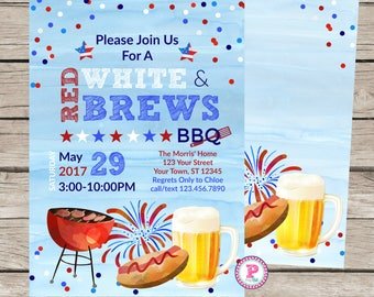 Red White & Brews BBQ Memorial Day 4th of July Labor Day Backyard Bar-B-Que Invitation Watercolor Brushstroke Beer Hot Dogs Grill Fireworks