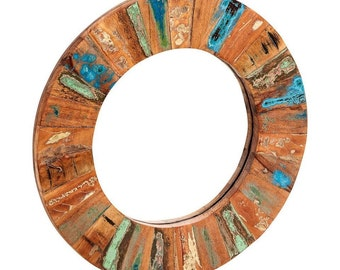 Coastal reclaimed large round mirror - Handcrafted in India - Eco friendly