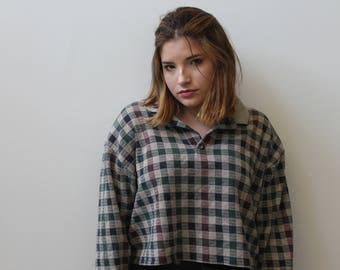 Recycled Cropped Long Sleeve Plaid Pullover