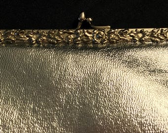 Silver Metallic Textured WEARWELL Hinged Handbag with Floral Trim and Fold in Snake Chain Handle - Vintage