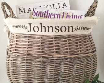 Wicker Storage Basket | Basket | Personalized Basket | Magazine holder | Personalized Gifts | Last Name | Home Decor | Gift | personal