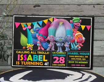 Trolls Invitation  Trolls Birthday  Trolls Party  Trolls Birthday Invitation  Trolls Printable  Trolls Invite  Trolls Party Invitation