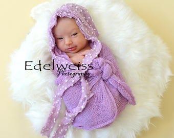 Lavender dot newborn bonnet,baby bonnet, Newborn photo prop,lavender newborn bonnet,newborn baby bonnet,lavender baby bonnet