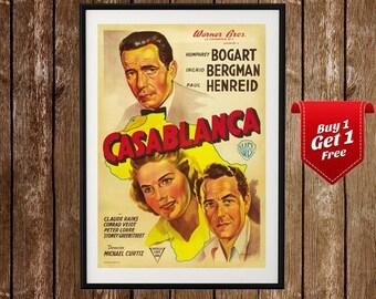 Casablanca Movie Poster - Vintage Cinema Print, Humphrey Bogart, Ingrid Bergman, Home Theater Poster, Media Room Decor, Retro Film