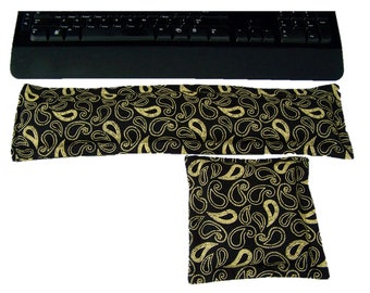 Wrist support rest,Computer accessory,Mouse pad, Office, Microwave pack, Black and Yellow Paisley Computer Keyboard and Mouse Wrist Supports