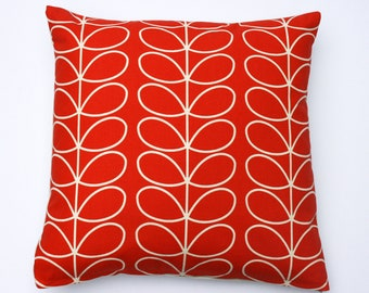 Scandinavian style linear stem cushion in tomato (cushion pad included)