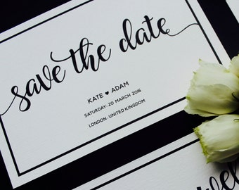Elegant Save the Date - Black and White Save the Date - Calligraphy Save the Date - Wedding Save the Date card
