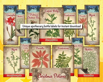 Apothecary Bottle Labels - Christmas Plants