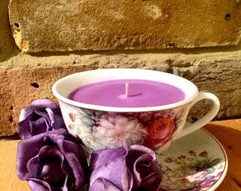 Vintage Teacup Candle 4 different colours with roses