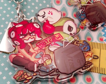 "WASTED Gamer Girl Videogame bad guys villain 2"" phone charm strap double sides transparent acrylic with boo octoling and shyguy shygal"