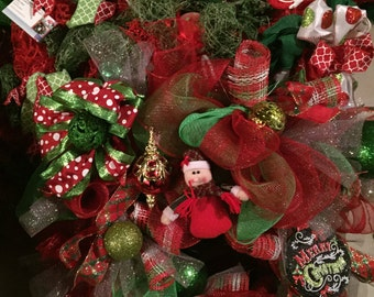 Lolipop Christmas Deco Mesh Wreath