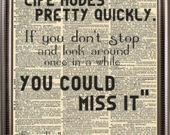 "Ferris Bueller's day off movie quotes. Ferris Buellers quotes print. ""Life Moves pretty fast"". Vintage print"