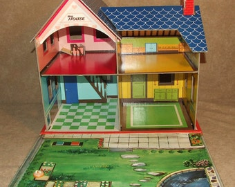 Vintage 1960s Sturdy Card Slot-Together Dolls House - By Apollo Toys of Japan