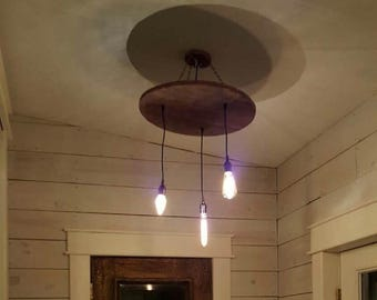 Vintage Chandelier Light Fixture (Round Wood With Hanging Bulbs)