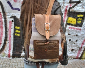 Backpack, rustic, leather, goatskin - Upcycling
