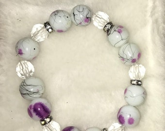 Beaded White and Purple Bracelet