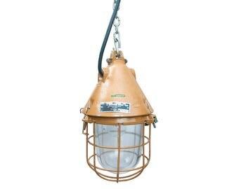 DDR Mine Lamp, Orange Industrial Lamp, East German Explosion-proof Lamp