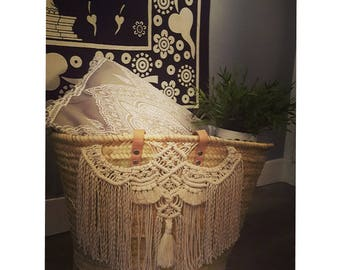 Macrame wicker basket