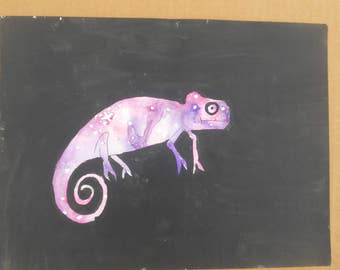 Chameleon Watercolor Galaxy Painting