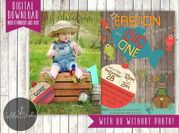 Big One Fishing Invitation Big One First Birthday Fisherman – The Big One Birthday Invitation