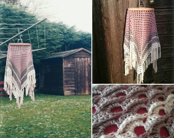Boho Shawl fringe cotton crochet