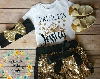 Newborn,  Baby Girl,  Toddler,  Gold,  Glitter,  Crown,  Princess,  Coming Home,  Birthday,  Baby Shower Gift