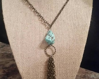 Simple turquoise tassel necklace